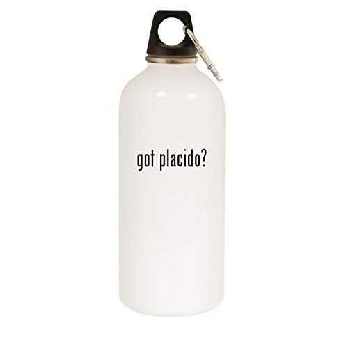 got placido? - 20oz Stainless Steel White Water Bottle with Carabiner, White