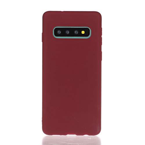 Everainy Kompatibel für Samsung Galaxy S10 Silikon Hülle Ultradünn Hüllen Handyhülle Gummi Case Schutzhülle Stoßfest TPU Gel Stoßstange Cover (rot 1)