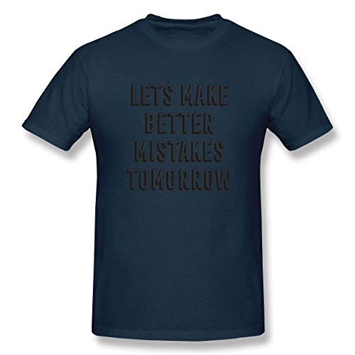 HuXiHuXiHu Kurzarmshirt, Let's Make Better Mistakes Tomorrow Humour Soft Shirt Tee Short Sleeve T-Shirt for Mens Gray