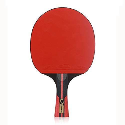 ZJH Estafa de Tenis de Mesa de 6 Estrellas, Paleta Profesional del Ping-Pong del Pegamento Reverso de Doble Cara de Madera sólida de 5 Capas,Longhandle
