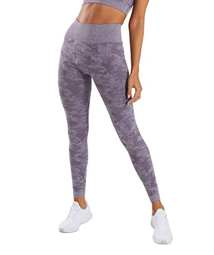 MMIW COLLECTION Seamless High Waisted Gym Leggings for Women Stretch Yoga Pants Ombre Workout Running Leggings (1905-Lavender-M)