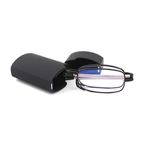 Faltbare Lesebrille aus Edelstahl Mini Anti-Blau Sehnhilfe für Damen und Herren Lesehilfe mit Hartschalen-Etui(Schwarz,+2.5)