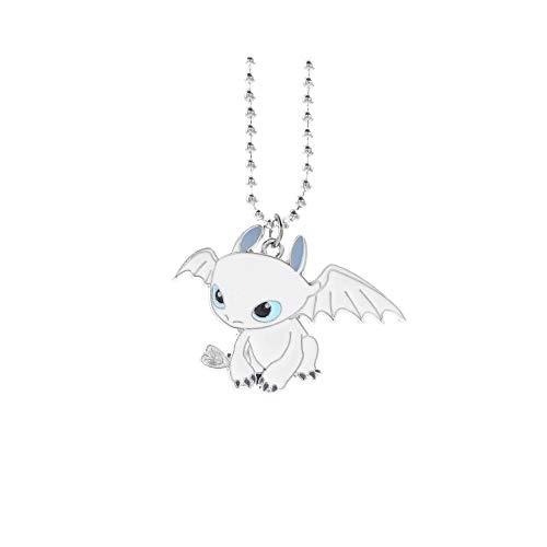 MINGZE Drachenzähmen leicht gemacht Halskette, mit süßem Ohnezahn Drachen Tagschatten Drachen Anhänger (Nightfury-Weiß)