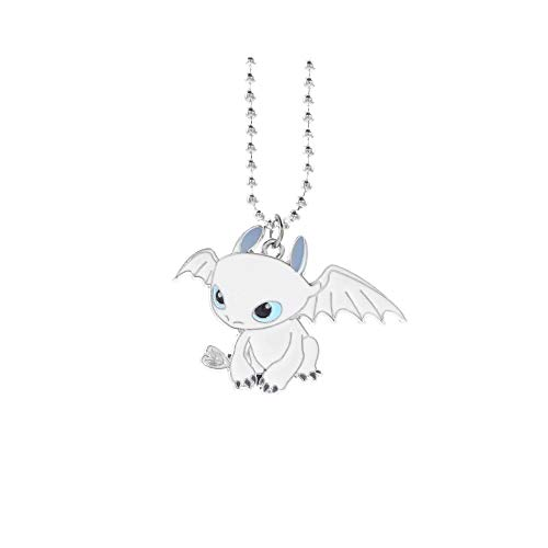 MINGZE Necklace, How to Train Your Dragon Toothless Night Fury Pendant Necklace, Cartoon Character Necklace for Kids (Lightfury-White)