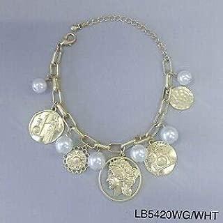 Roman Multi Size Coin Pearl Dangle Charms Gold Finish Wrist Hand Bracelets Fashion Jewelry for Women Man