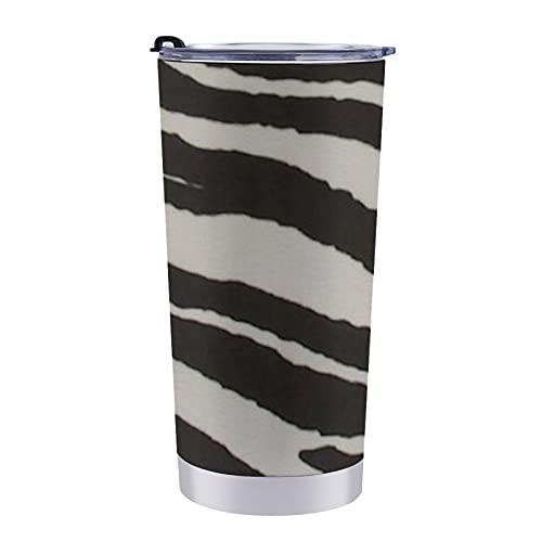 Taza de viaje de doble pared de acero inoxidable de 20 onzas con tapa a prueba de salpicaduras sin BPA, impresión de cebra