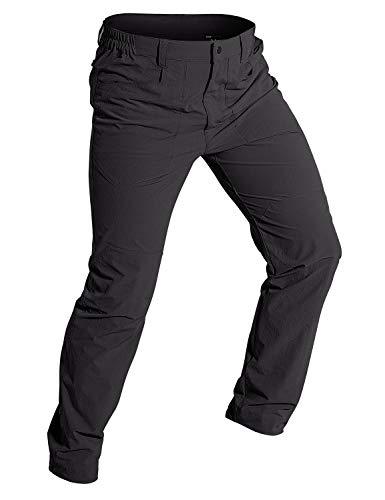 Wespornow Herren Schnelltrocknende Wanderhose Trekkinghose Outdoorhose, Leichte Dehnbare Camping Reisekletterhose mit 5 Taschen (Dunkelgrau, L)