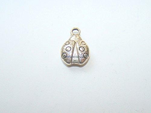 Charming Beads Tibetano Coccinella Ciondolo/Pendente Argento Antico 15mm Pacco di 15