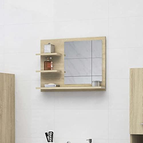 vidaXL Badspiegel mit 3 Ablagen Spiegelregal Wandspiegel Badezimmerspiegel Bad Spiegel Badezimmer Badmöbel Sonoma-Eiche 60x10,5x45cm Spanplatte