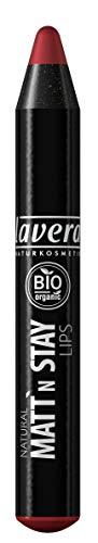 lavera Natural Matt'n Stay Lips -Matt'n Red 03- Lippenstift ∙ Lipstick intensiv-matt und pflegend Naturkosmetik Natural Make-up Bio Pflanzenwirkstoffe 100% natürlich 3er Pack (3x 3.1 g)