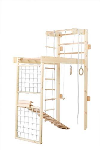 Kidsmont Kombi-Sprossenwand 5 in 1 ABNEHMBAR KLAPPBAR Sprossenwand Turnwand Klettergerust Indoor Kletterwand (Sprossenwand mit Brett Rutsche und Matte, Weiß)