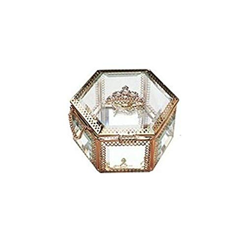 WNN - Caja decorativa URG de cristal para joyas, organizador de maquillaje, para pendientes, collares, anillos de oro URG (tamaño: estilo corona)