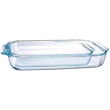 Pyrex 1107101  Basics Clear Oblong Glass Baking Dishes, 2 Piece Value Plus Pack Set