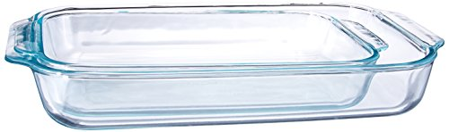 Pyrex Unknown 1107101 Basics Clear Oblong Glass Baking Dishes, 2 Piece Value Plus Pack Set, 18/8 Stainless Steel