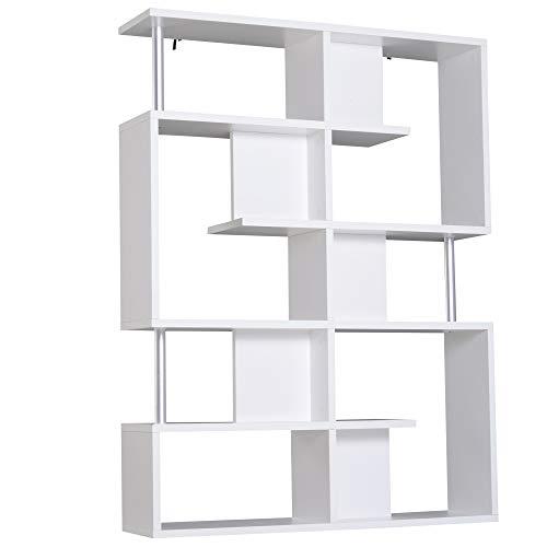 homcom Scaffale Libreria ad S 5 Ripiani Design Moderno Soggiorno, Ufficio, Salotto, Legno, Bianco, 120 x 28.6 x 160 cm