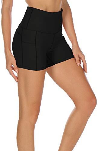 icyzone Damen Tights Shorts Sport Kurze Hosen - Laufshorts Fitness Yoga Leggings (S, Solid Black)