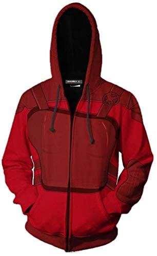 MAOMAO Sudaderas con Capucha para Hombres Zip Fashion 3D Print Boys Sweater para New The Hunger Games Pattern Sudaderas Chaqueta Adolescentes /,Red-S