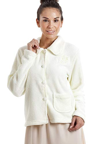 CAMILLE Womens Luxus Soft Button und Reißverschluss Bett Jacken Designs 50/52 Ivory