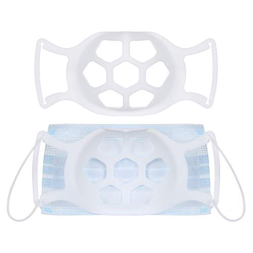 Binoop 2 Stück Abstandshalter Unterstützung Innere Stützrahmen, Wiederverwendbare 3D Bracket Silikon Halter Nasenpads, Lippenstift Schutz Waschbar Wiederverwendbar (Weiß)