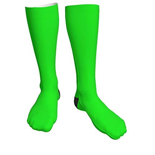 Jack16 Kniestrümpfe, Neongrün, einfarbig, Unisex, lange Socken, hohe Stiefel, Oberschenkelstrümpfe, Beinstulpen, Sportstrumpf