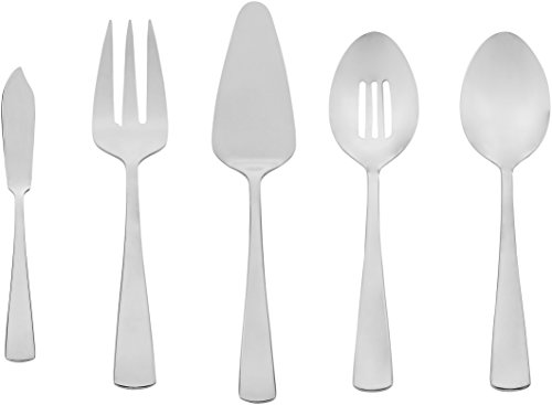 Amazon Basics 5-Piece Stainless Steel Serving Set with Square Edge