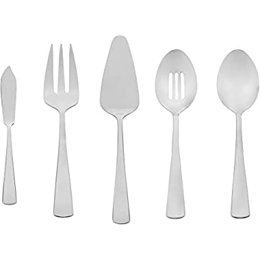 AmazonBasics 5-Piece Stainless Steel Serving Utensil Set with Square Edge