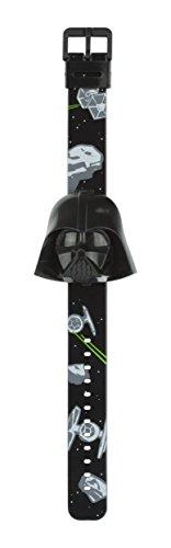 Star Wars STAR426 Jungen-Armbanduhr, schwarzes Zifferblatt, Digitalanzeige, schwarzes Kunststoff-Armband