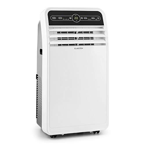 Klarstein Metrobreeze 9 New York City - Condizionatore portatile, 9000BTU/2,6kW, 1.050W, 62dB, Display LED, Classe Energetica A, Oscillazione, Tubo di Scarico, Set per Sigillare Finestre, Bianco