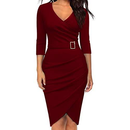 Briskorry Kleider Sexy Damen Partykleid Abendkleid Ballkleid V-Ausschnitt Elegante Enges Minikleid Langarm Clubwear Kurz Wickelkleid Festliche Kleider