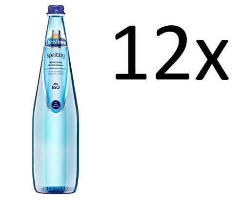 12 Flaschen blaue Christinen Spritzig Natürliches Mineralwasser mit viel Kohlensäure a 750ml in Glas inc. 1,50€ Mehrweg Flasche