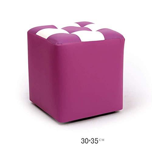 Barkruk, voetenbankje, werkkruk, douchekruk, opstapkruk, brochure, salontafel, van leer, creatief, klein blok, kruk, duurzaam (kleur: B violet)
