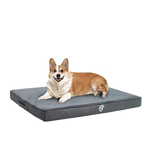 FRISTONE Orthopädisches Hundebett für Kleine Mittlere Große Hunde, Waschbar Hundematratze, Eierkistenform Schaum Hundekissen mit Abnehmbarem Bezug,XL,Grau