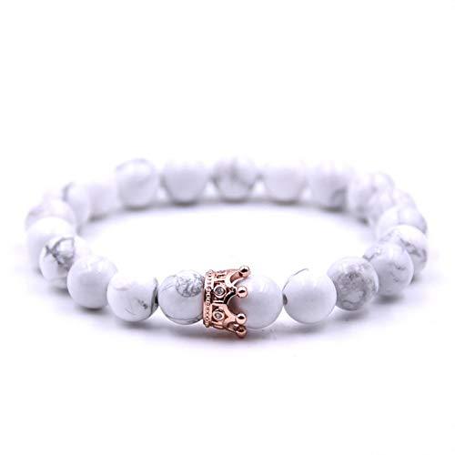 Mode Paar Armband Exquisite Einstellbare Vulkanstein Marmor Peeling Perlen Krone Armreifen Für Frauen Männer Schmuck - Rose Gold