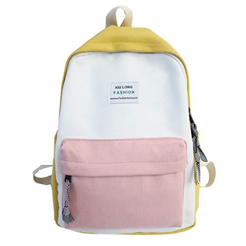 FossenStu Mochila Escolar Juveniles para Chicas Casual Portátil de Costuras de Color - Mochilas Escolares Adolescentes Niñas para Viaje, Cámaras/Deportes y Aire Libre/Portátiles y Netbooks