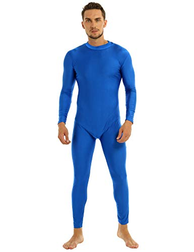 ACSUSS Mens One Piece Mock Neck Long Sleeve Skin-Tight Solid Color Unitard Bodysuit Blue XX-Large