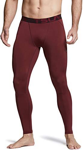 TSLA Men's UPF 50+ Compression Pants, UV/SPF Running Tights, Workout Leggings, Cool Dry Performance Yoga Gym Clothes, Active(mup39) - Brick, Medium