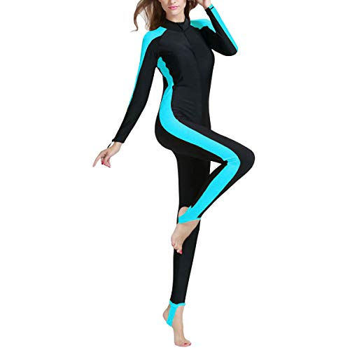 Sidiou Group Protezione Solare UPF 50+ Muta Donna Surf Muta Manica Lunga Muta da Sub Completo da Surf Mute Umide Costumi da Bagno Donna Un Pezzo (Blu, XXL)