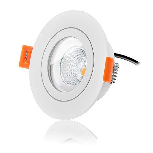 Ledox Led Bad Einbaustrahler Set IP44 dimmbar inkl. Forma RW Aqua Einbaurahmen 230V 6W Modul inkl. Trafo 2700K warmweiß extra flach - 420 lm - Badbeleuchtung mit Ra>90 (1er Set)