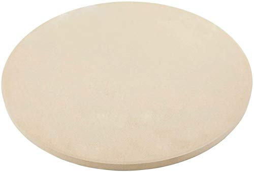 Wondjiont 15 Inch Round Heavy Duty Ceramic Pizza Grilling Stone, Baking Stone, Pizza Pan, Perfect for Oven, BBQ and Grill
