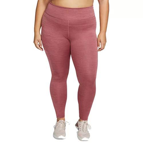 Nike W One Tght Plus – Leggings da Donna, Donna, AV8172, Rosa (Cedar) / Rosso Chiaro (Light Redwood) / Nero, 50-52
