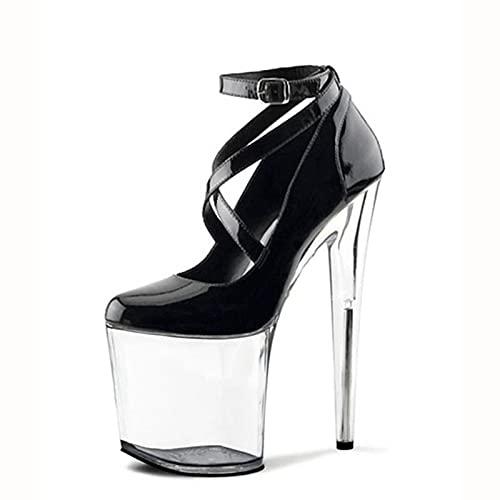 ZOULME 20 cm Zapatos de Boda de Plataforma Impermeable, Bombas de Mujer Sexy con Tacones Altos, Tienda de Noche Sexo tamaño Grande súper Alto tacón Alto Zapatos Fiesta Vestido Rojo Boda
