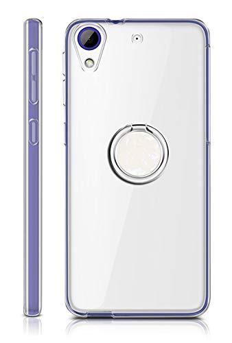 Sunrive Für HTC Desire 650/628 / 626 / 626G Hülle Silikon, Transparent Handyhülle 360°drehbarer Ständer Ring Fingerhalter Fingerhalterung Schutzhülle Etui Hülle(Weiß) MEHRWEG