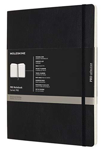 Moleskine Pro Notebook, Taccuino Professionale da Ufficio, Copertina Morbida e Chiusura ad Elastico, 192 Pagine, Formato X-Large, Colore Nero