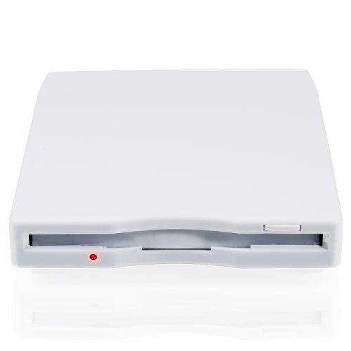 CSL - Externes USB Diskettenlaufwerk FDD 1,44MB 3,5 Zoll - PC und MAC - Slimline Floppy Disk Drive Extern - Portable - Plug and Play - in weiß - Windows 10 fähig