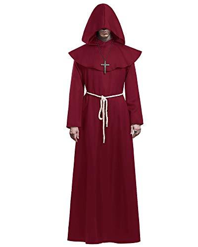 KONVINIT Medieval Fraile Túnica Disfraz Monje con Capucha Disfraces de Monje Sacerdote Disfraz de Monje Hombre para Halloween Disfraz Cosplay