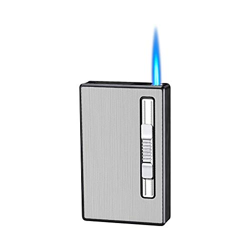 Cigarette Case with Lighter Jet Torch Flame Lighter 100mm 100s 20pcs Slim Cigarettes Box Refillable Windproof Gas Lighters 2 in 1 (Silver)