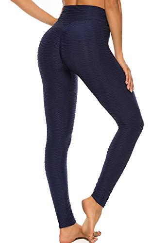 FITTOO Mallas Leggings Mujer Pantalones Deportivos oga Alta Cintura Elásticos Transpirables Azul Oscuro XL