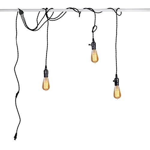 DIY Deckenleuchte Pendelleuchte Schwarz 5M Kabel mit Schalter und Stecker Kronleuchter 3 Flammig E27 Edison Bulb Hängelampe für Schlafzimmer Wohnzimmer Küche Esszimmer Loft Balkon Decken Lampe
