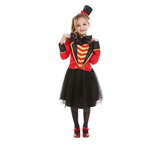 NET TOYS Disfraz directora de Circo niña - Negro-Rojo M, 7 - 9 años, 130 - 143 cm - Llamativa Vestimenta domadora de Animales para niña - El Punto Alto para Fiesta de Disfraces y Carnaval Infantil