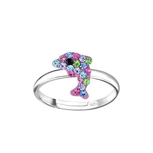 FIVE-D Kinder- und Mädchen Ring Delfin Kristalle 925 Sterling Silber